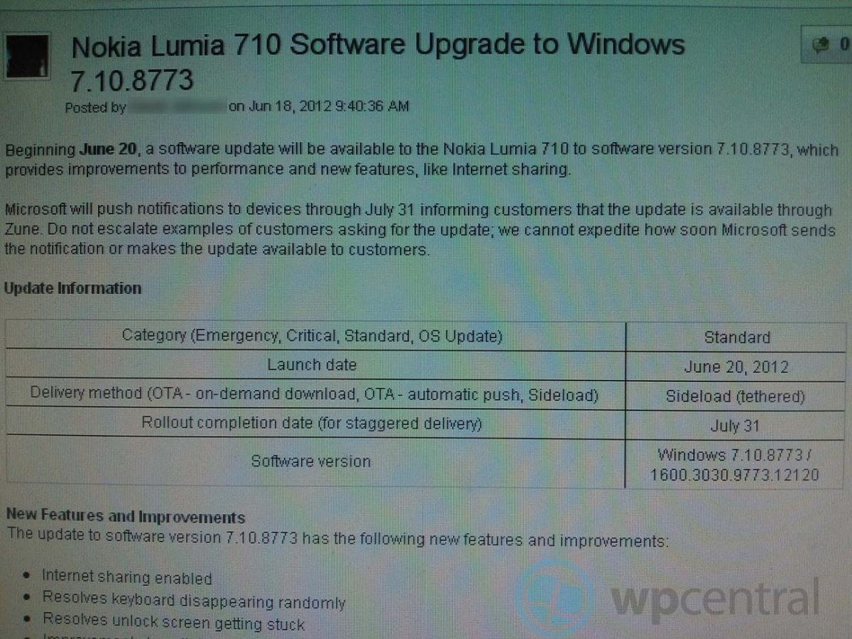 T-Mobile update for Lumia 710